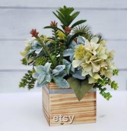 Succulents artificiels et hydrandes, Faux Succulents en boîte à bois, Hydrangeas vertes et pièce maîtresse succulente