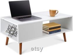 Table basse moderne en bois Meubles d accent du milieu du siècle pour le salon Décor à la maison avec l étagère ouverte de stockage finition de grain en bois