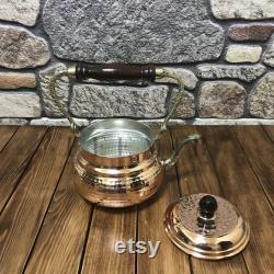 Théière en cuivre, bouilloire de cuivre, théière en cuivre faite à la main, cafetière en cuivre, bouilloire de thé en cuivre, cadeau de cuivre à la maison, cuivre fait main