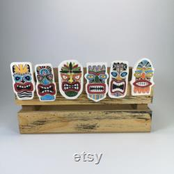 Tiki Magnets Ensemble de 6 Tiki Style Magnet Ceramic Tiki Magnet Tiki Decor Tiki Ornament Magnet for Fridge Fridge