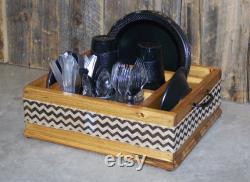 Toile de jute noir chevron ruban vaisselle ustensile caddy organisateur pour serviettes de table, assiettes, ustensiles et plus. Idéal pour n importe quel parti.