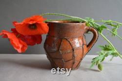 Très vieux récipient antique d'argile antique cuvette rustique pichet antique d'argile cruche de poterie décor de pays articles ménagers.