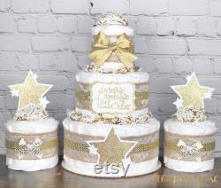 Twinkle Star Diaper Cake Set, Gender Neutral Star Burlap Lace Gold Baby Shower Diaper Cake, Virtual Baby Shower Decor Centerpiece Gift, Set