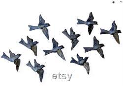Vente, Légère Imperfections Oiseaux en métal, Ensemble de 10, Art mural fait main, Art populaire, 3-D, Objets de collection d oiseaux, Rustic Farm House 5 x 4,5 pouces