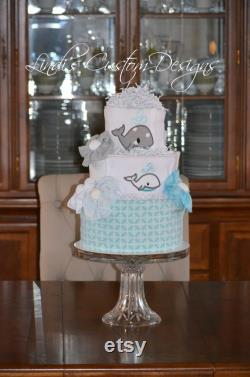 Whale Baby Shower Diaper Cake Decoration Gift Set, Aquamarine Gray Baby Diaper Cake Shower Decor Gift Set, Gender Neutral Baby Shower Gift