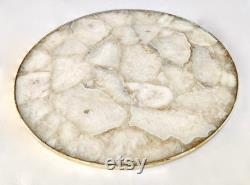 White Agate Lazysusan Comptoir Platine Pièce maîtresse