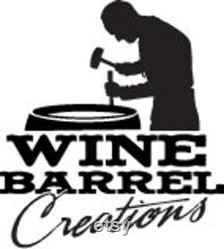 Wine Barrel Head Lazy Susan With Band Chêne massif d un vignoble de Napa Valley