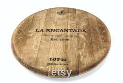 Wine Barrel Lazy Susan, Handmade Flat Large 27''