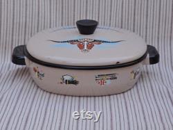 milieu du siècle Monterrey ware, émail de l Ouest, plat de casserole longhorn