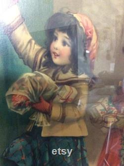 millésime Francis Brundy. lithographie encadrée Allemagne 1930 filles victoriennes avec terrier. Réduit