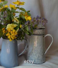 pot de café en émailware vintage Fran ais avec couvercle et effet marbre de récipient de grain