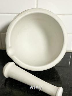 vintage XL 8 Trenton apothicaire de porcelaine standard pilon de chimie mortier vers 1930-40s Résistance à l acide Pas de puces Décor industriel